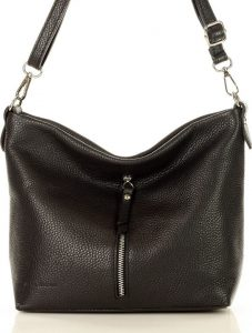 MARCO MAZZINI Černá kožená kabelka s kapsou (L181a) Velikost: univerzální