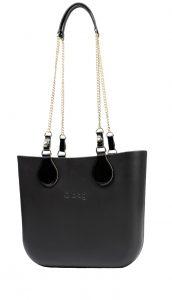 O bag kabelka MINI Nero s řetízkovými držadly Gold/Shiny Black