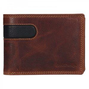 Pánská kožená peněženka SendiDesign Amarel – hnědo-černá