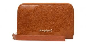 Desigual hnědá peněženka Mone Melody Mini Zip s výšivkou
