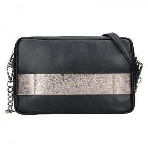 Trendy dámská kožená crossbody kabelka Facebag Ninas – černo-zlatá