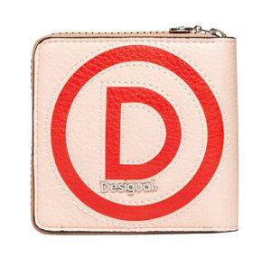 Desigual Dámská peněženka Mone Logo Patch Zip Square Beige 20SAYP34 6008