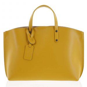 Dámská kožená kabelka hořčicová – ItalY Jordana žlutá