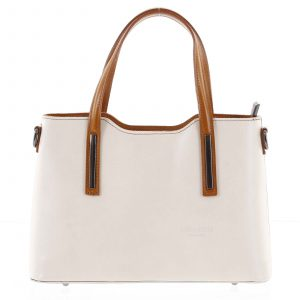 Menší kožená kabelka béžovo koňaková – ItalY Alex béžová