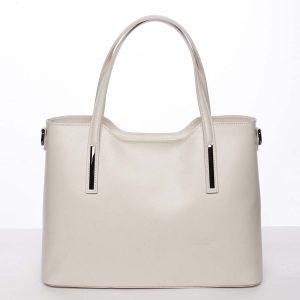 Větší kožená kabelka béžová – ItalY Sandy béžová