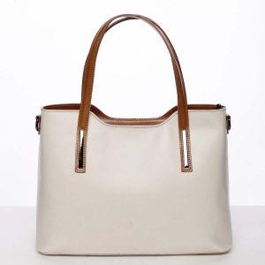 Větší kožená kabelka hnědo béžová – ItalY Sandy béžová