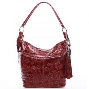 Dámská kožená kabelka přes rameno vínová – ItalY Heather vínová