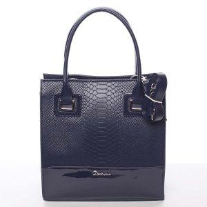 Dámská luxusní lakovaná kabelka tmavě modrá se vzorem – Delami Claudine modrá
