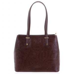 Exkluzivní dámská kožená kabelka bordó – ItalY Logistilla vínová