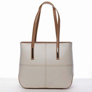 Moderní dámská kožená kabelka hnědo béžová – ItalY Adalicia béžová