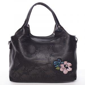 Moderní dámská černá perforovaná kabelka – Maria C Melaney černá