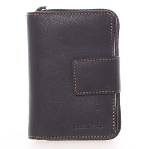 Kvalitní kožená dámská prošívaná peněženka černá – SendiDesign Reta černá