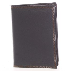 Luxusní pánská kožená černá prošívaná dokladovka – SendiDesign Rhesus černá