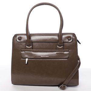 Elegantní pevná dámská kabelka do ruky tmavá taupe – Silvia Rosa Takeon taupe
