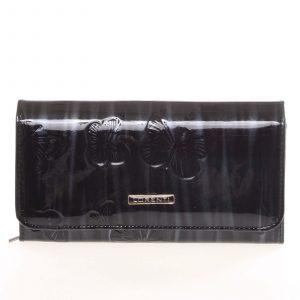 Jedinečná kožená lakovaná černo stříbrná peněženka – Lorenti Noragen černá