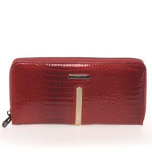 Lakovaná kožená červená peněženka na zip – Lorenti A100RS červená
