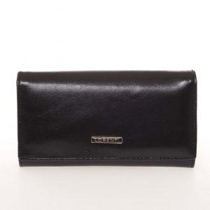 Módní dámská matná kožená peněženka černá – Lorenti GF112SL černá