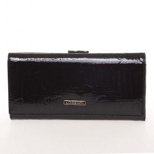 Lakovaná kožená černá peněženka s jemným vzorem – Lorenti 72031RSBF černá