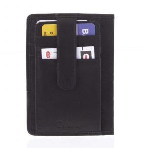 Jednoduchá černá kožená peněženka do kapsy – Delami 9393 černá