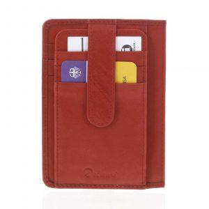Jednoduchá červená kožená peněženka do kapsy – Delami 9393 červená