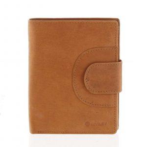 Pánská kožená prošívaná peněženka koňaková – Diviley Universe koňak