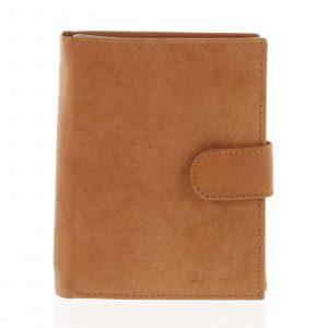 Větší pánská koňaková kožená peněženka se zápinkou – Diviley Heelal koňak
