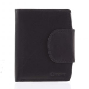 Elegantní černá kožená peněženka se zápinkou – Diviley Universit černá
