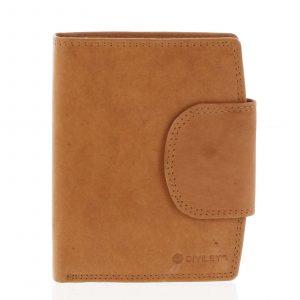 Elegantní koňaková kožená peněženka se zápinkou – Diviley Universit koňak