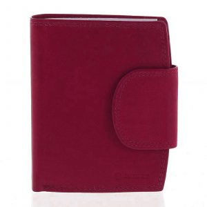 Elegantní červená kožená peněženka se zápinkou – Diviley Universit červená