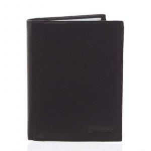 Pánská pevná kožená peněženka černá – Diviley Kainat černá