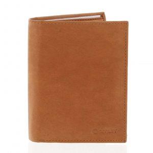 Pánská pevná kožená peněženka koňaková – Diviley Kainat koňak