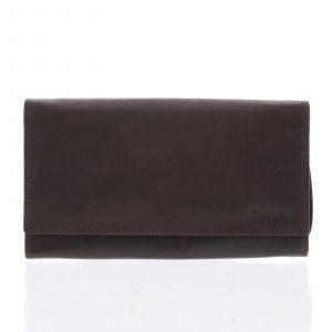 Dámská klasická tmavě hnědá kožená peněženka – Diviley Svemir hnědá