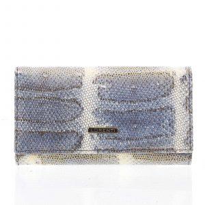 Luxusní hadí kožená modrá peněženka s odleskem – Lorenti 114SH modrá
