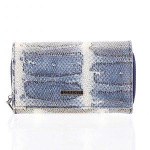 Luxusní hadí kožená modrá peněženka s odleskem – Lorenti 112SK modrá