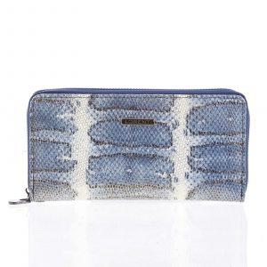 Luxusní velká hadí kožená modrá peněženka s odleskem – Lorenti 119SK modrá