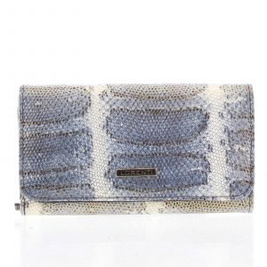 Luxusná hadia kožená modrá peňaženka s odleskom – Lorenti 110SK modrá