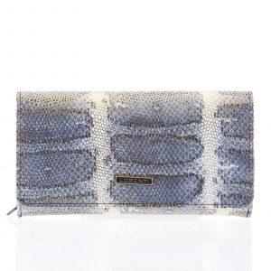 Velká modrá kožená lakovaná peněženka se zlatým vzorem- Lorenti 107SK modrá