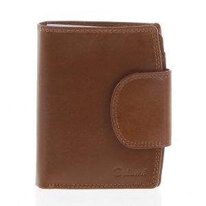 Kožená elegantní světle hnědá peněženka pro muže – Delami 1342CHA hnědá
