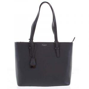Velká luxusní dámská kožená tmavě šedá kabelka přes rameno – Hexagona Zoie šedá
