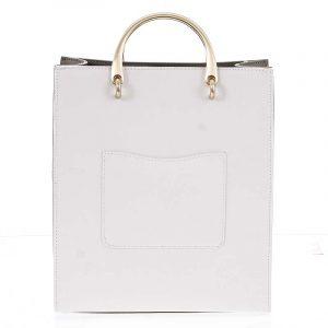 Luxusní dámská kožená bílo olivová kabelka do ruky – Hexagona Zenia bílá