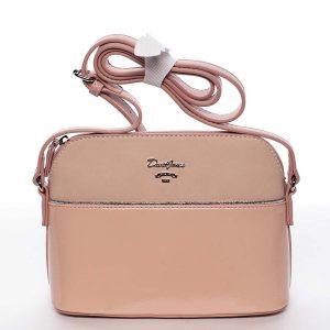 Malá růžová pololakovaná crossbody kabelka – David Jones Kaori růžová