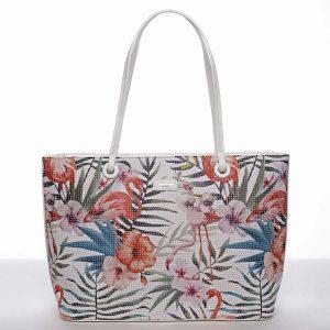 Velká bílá květinová perforovaná měkká kabelka – David Jones Gabriela bílá