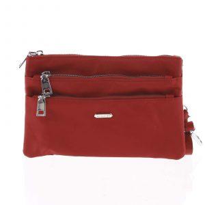 Stylová dámská listová crossbody kabelka tmavě červená – David Jones Daniella červená
