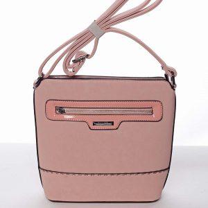Elegantní dámská růžová crossbody kabelka – Silvia Rosa Meylin růžová