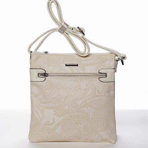Krásná dámská meruňková crossbody kabelka se vzorem – Silvia Rosa Xiomy béžová