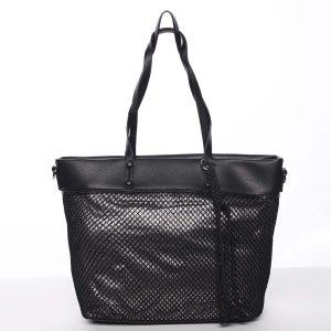 Jedinečná perforovaná dámská kabelka přes rameno černá – Maria C Karolay černá