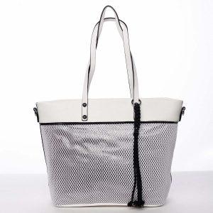 Jedinečná perforovaná dámská kabelka přes rameno bílá – Maria C Karolay bílá