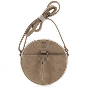 Kulatá moderní dámská crossbody kabelka taupe – Enrico Benetti Behesha taupe