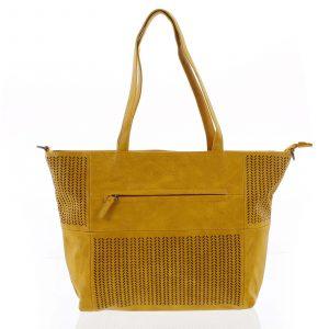 Elegantní perforovaná dámská kabelka přes rameno tmavě žlutá – Beagles Lema žlutá