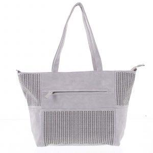 Elegantní perforovaná dámská kabelka přes rameno světle šedá – Beagles Lema šedá